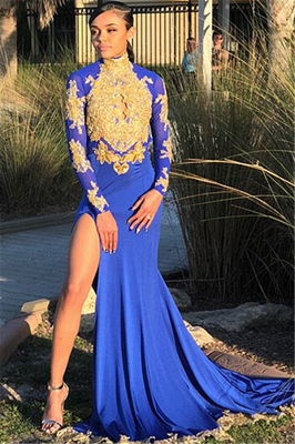 Long Sleeve Gold Appliques Prom Dress UK | Evening Gowns With Slit BK0_1