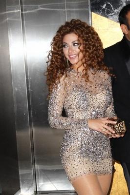 Wholesale Elegant long sleeve celebrity Dress UK with Beading_3