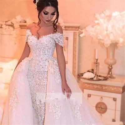 Elegant Off-the-Shoulder Wedding Dress With Lace Appliques On Sale_3