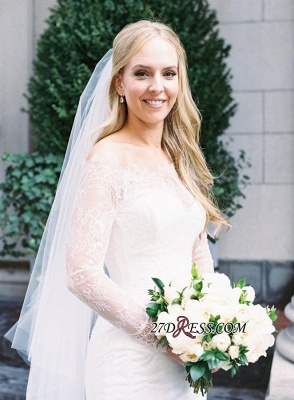 White Sexy Mermaid Off-the-shoulder Zipper Lace Long-Sleeve Elegant Wedding Dress_5