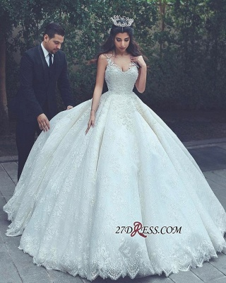 Ball-Gown Latest Appliques V-neck Lace Sleeveless Wedding Dress_1