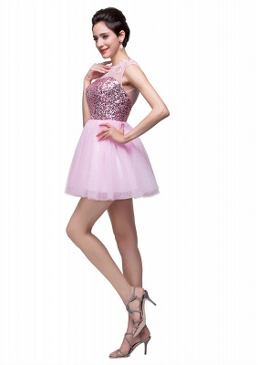Cute Pink Sequins Sleeveless Homecoming Dress UK Tulle Short_3