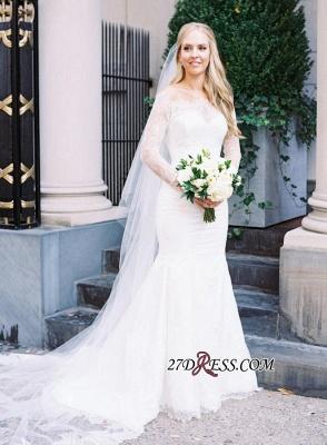 White Sexy Mermaid Off-the-shoulder Zipper Lace Long-Sleeve Elegant Wedding Dress_6