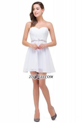 Short Sweetheart Chiffon White Sexy Crystal Homecoming Dress UK_2
