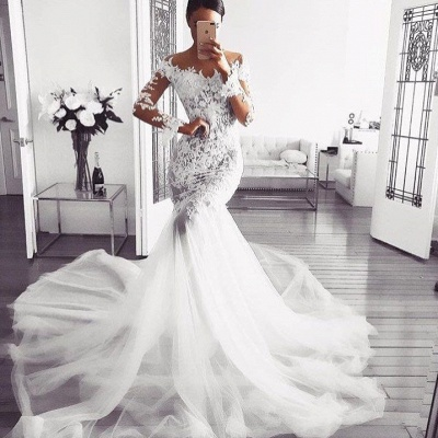 Elegant Off Shoulder Wedding Dresses UK | Long Sleeves  Sexy Mermaid Lace Bridal Gowns_2