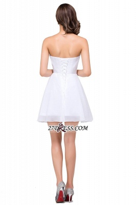 Short Sweetheart Chiffon White Sexy Crystal Homecoming Dress UK_3