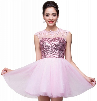 Cute Pink Sequins Sleeveless Homecoming Dress UK Tulle Short_1