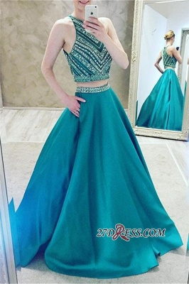 A-Line Two-Pieces Halter Luxury Crystal Sleeveless Prom Dress UK_3