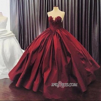 Sleeveless Sweetheart Appliques Ball-Gown Sexy Prom Dress UK_1