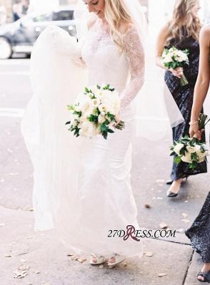White Sexy Mermaid Off-the-shoulder Zipper Lace Long-Sleeve Elegant Wedding Dress_4