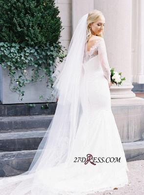 White Sexy Mermaid Off-the-shoulder Zipper Lace Long-Sleeve Elegant Wedding Dress_2
