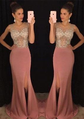 Stunning Sleeveless Crystal Prom Dress UKes UK Slit Floor Length AP0_2