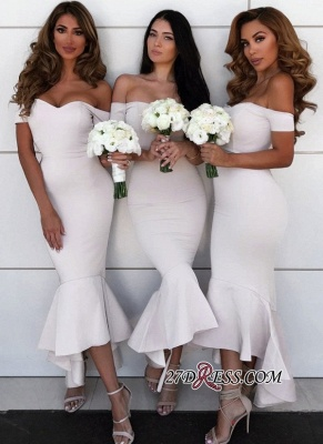 Simple Off-the-Shoulder Wedding Reception Dress UK | Bridesmaid Dress UKes UK Online_1