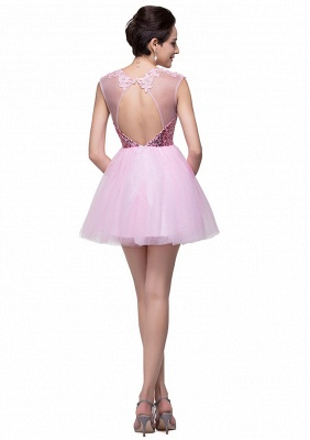 Cute Pink Sequins Sleeveless Homecoming Dress UK Tulle Short_5