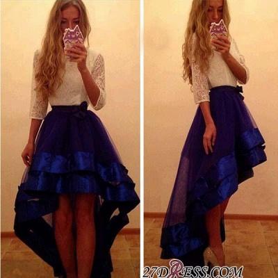 Newest Yoyal-Blue Hi-Lo A-Line White-Lace Tulle Prom Dress UK_1