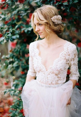 Gorgeous Hal-Sleeve Summer Lace Wedding Dress Tulle_4
