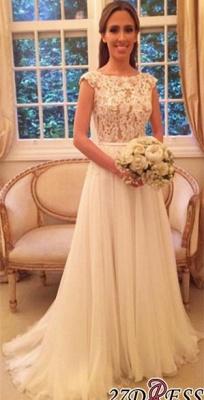 Sleeveless Long  Open-Back Applique A-Line Elegant Wedding Dresses UK_2