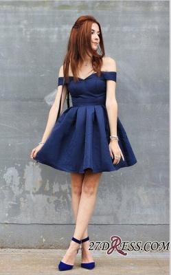 Dark-Navy Off-the-shoulder Modest A-line Short Homecoming Dress UK_3
