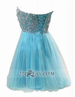 Lovely Semi-sweetheart Sleeveless Short Homecoming Dress UK Beadings Crystals Lace-up Tulle Cocktail Gown_2