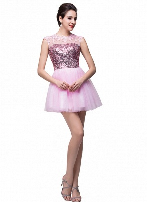 Cute Pink Sequins Sleeveless Homecoming Dress UK Tulle Short_2