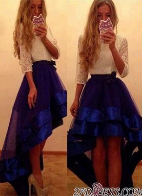 Newest Yoyal-Blue Hi-Lo A-Line White-Lace Tulle Prom Dress UK_2
