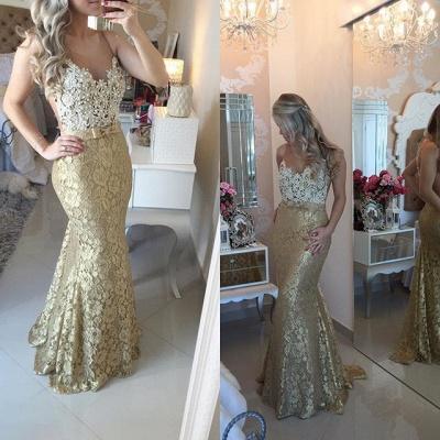 Modern Lace Appliques Mermaid Prom Dress UK Straps Sweep Train Bowknot_3