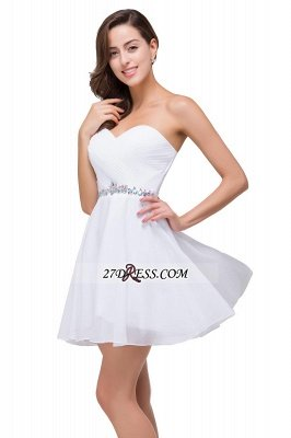 Short Sweetheart Chiffon White Sexy Crystal Homecoming Dress UK_5