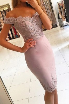 Sexy Off-the-Shoulder Short Prom Dress UK   Lace Mermaid Homecoming Dress UK_2