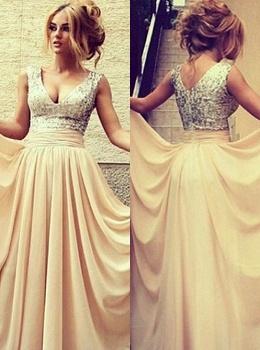 Gorgeous long evening Dress UKes UK v neck sequined nude chiffon prom gowns_2