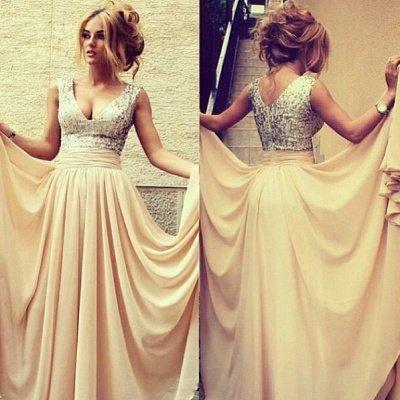Gorgeous long evening Dress UKes UK v neck sequined nude chiffon prom gowns_1