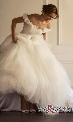 Flowers A-line Ruffles Sweep-Train Tulle Off-the-shoulder Modern Wedding Dress_2