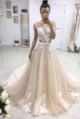 Elegant Lace Appliques Wedding Dress Tulle With Golden Belt_1