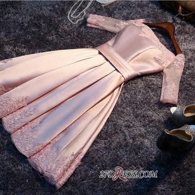 A-Line Pink Half-Sleeves Newest Short Off-the-Shoulder Homecoming Dress UK BA6866_3