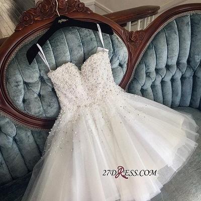 Knee-length Cute White Tulle Pearls Homecoming Dress UK BA9389_3
