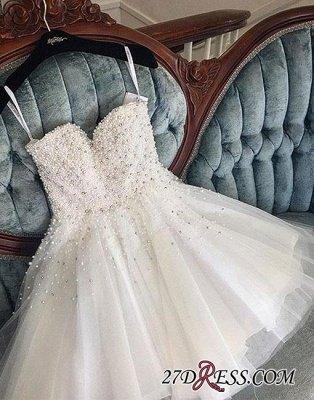 Knee-length Cute White Tulle Pearls Homecoming Dress UK BA9389_4