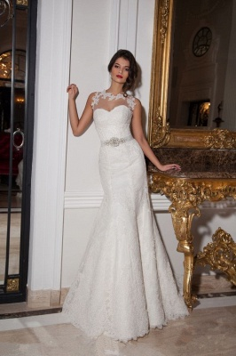 Illusion Sleeveless Sexy Mermaid Wedding Dress With Lace Appliques_1