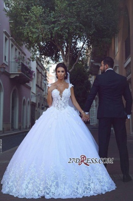 Elegant V-Neck Ball Tulle Sleeveless Appliques Wedding Dress_2