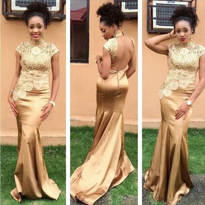 Hot Sale Golden High Neck Evening Dress UK Lace Appliques_1