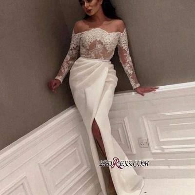 White Off-the-Shoulder Long Sleeve Prom Dress UK | Lace Prom Dress UK With Slit_2