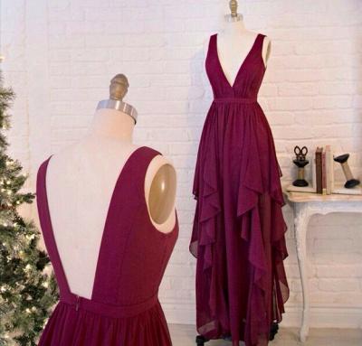 Beautiful Burgundy V-Neck Long Prom Dress UKes UK Chiffon Floor Length_3