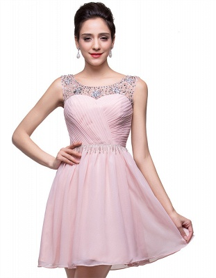 Gorgeous Sleeveless Crystal Short Homecoming Dress UK Chiffon_6
