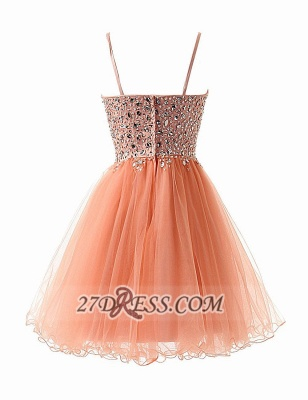 Gorgeous Sweetheart Sleeveless Short Homecoming Dress UK Spaghetti Strap Beadings Crystals Tulle Cocktail Gown_3