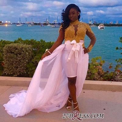 Gold Long-Sleeves High-Neck Detachable-Skirt Gorgeous Lace Evening Dress UKes UK BK0_1