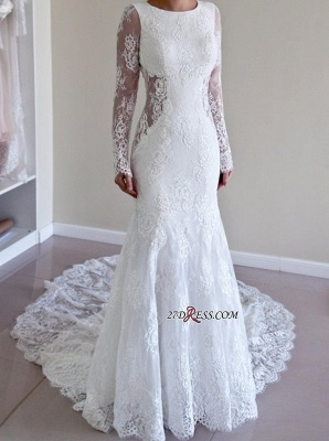 Backless Long-Sleeve Sexy Mermaid Gorgeous Sweep-Train Lace Wedding Dresses UK_3
