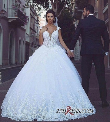 Elegant V-Neck Ball Tulle Sleeveless Appliques Wedding Dress_1