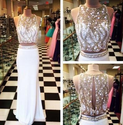 Gorgeous Halter Sleeveless Chiffon Prom Dress UK With Beadings Crystals_2