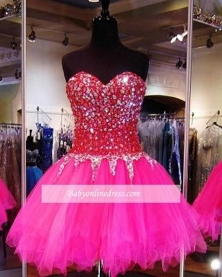 Tulle Mini A-Line Sweethehart Gorgeous Beadings Homecoming Dress UKes UK_3