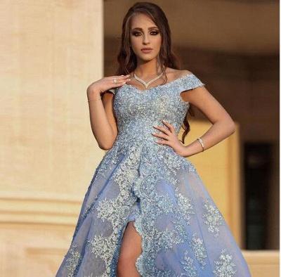 Gorgeous Off-the-Shoulder Lace Appliques Evening Dress UK Long Split Prom Dress UK_4