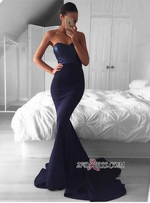 Sweep-Train Sequins Gorgeous Sweetheart Navy Mermaid Evening Dress UK_2