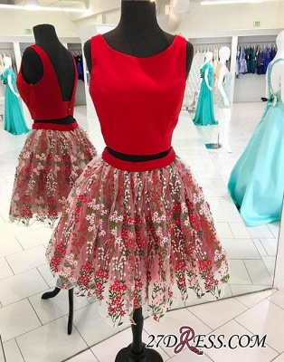 two-pieces Flowers Red Short A-line Backless Tulle Homecoming Dress UK_2